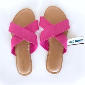 Old Navy Bright Pink Faux Suede Slip On Sandals